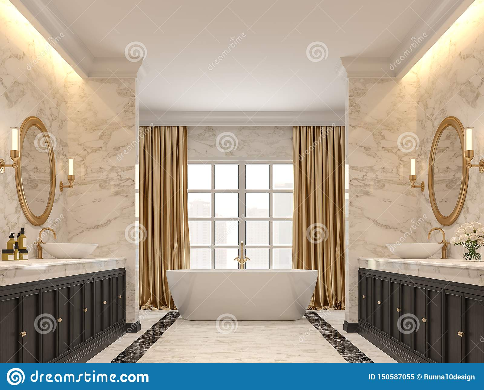 Luxurious Bathroom With White Marble Walls And Floors 3d Render Stock Illustration Illustration Of Bathroom Hidden 150587055