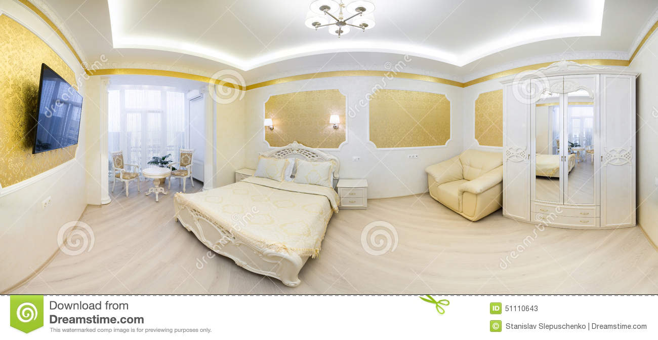 Download Luxurious Bed With Cushion In Royal Bedroom Interior Stock Image