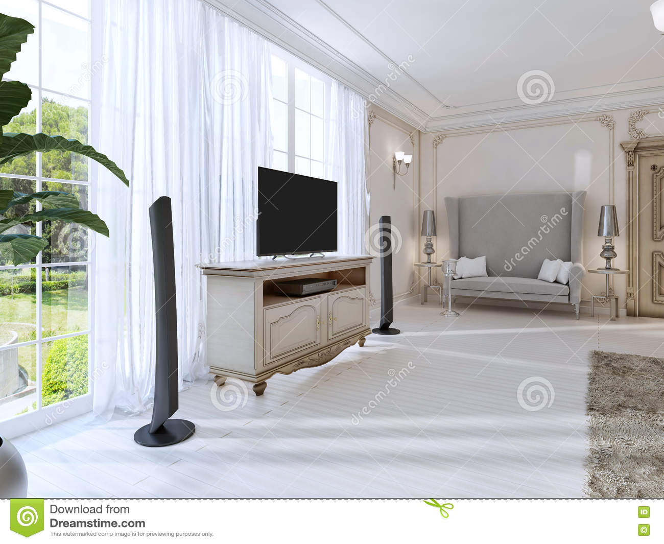 Luxurious Bedroom With A Large Sofa And TV Unit The Large