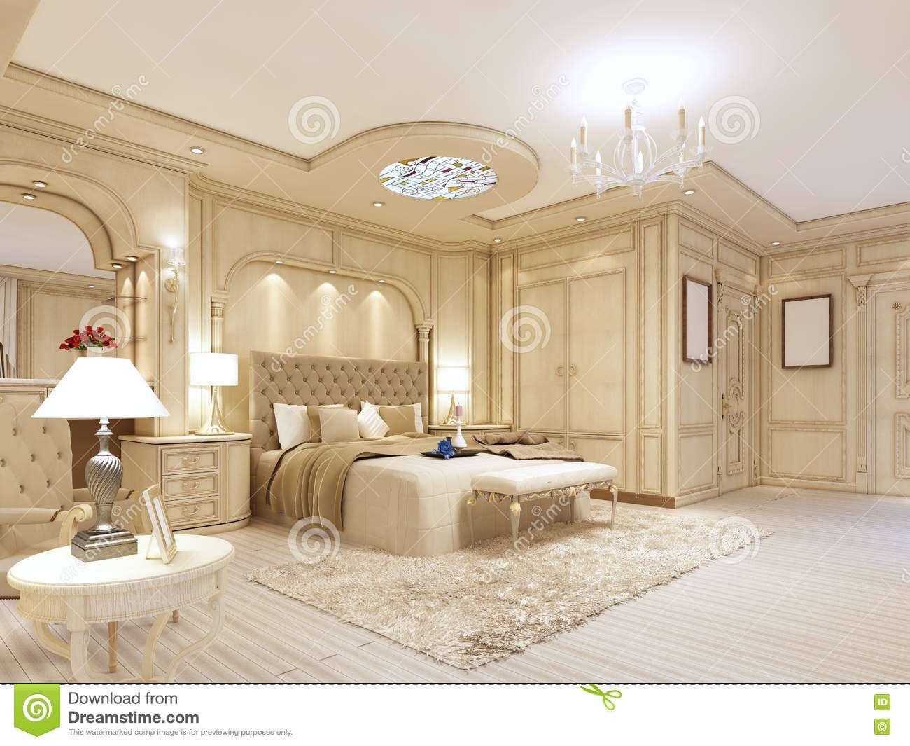 Royalty Free Illustration. Luxurious Bedroom In Pastel Colours In A Neoclassical Style  Stock