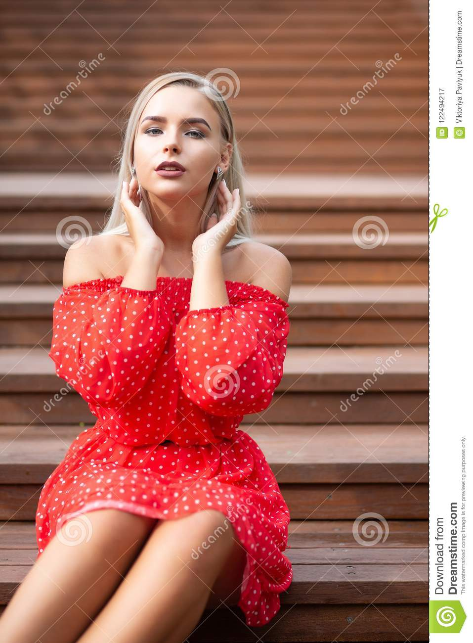 Really. was naked blonde in red dress