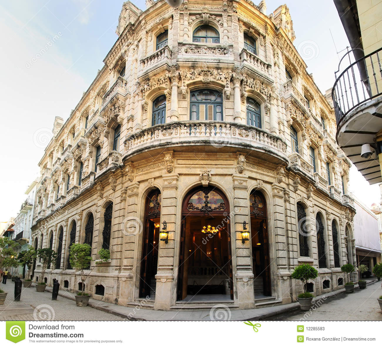 Luxurious building facade in old havana cuba stock photos