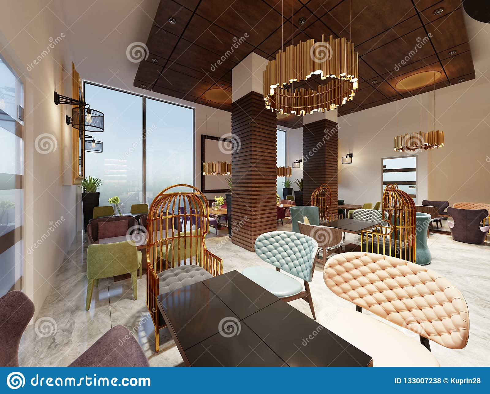 Luxurious Cafe In Modern Style With Colorful Furniture And Designer Gold  Chandeliers. Wooden Panels On Columns And Ceiling. 3d Rendering