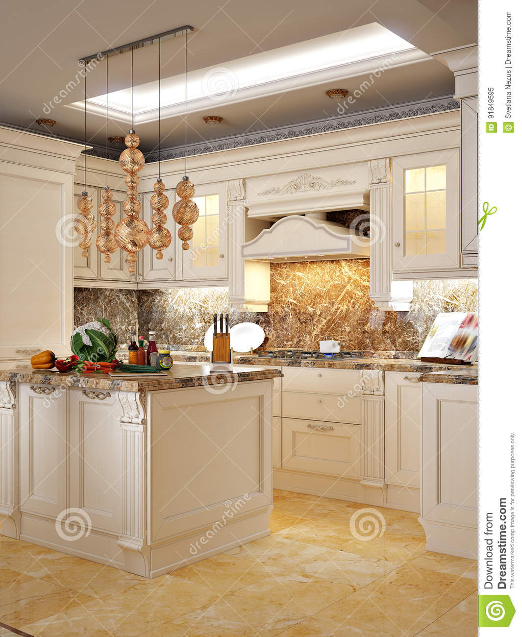 Kitchen Interior With Pink Furniture And Tiles Stock: Luxurious Classic Baroque Kitchen And Dining Room Stock
