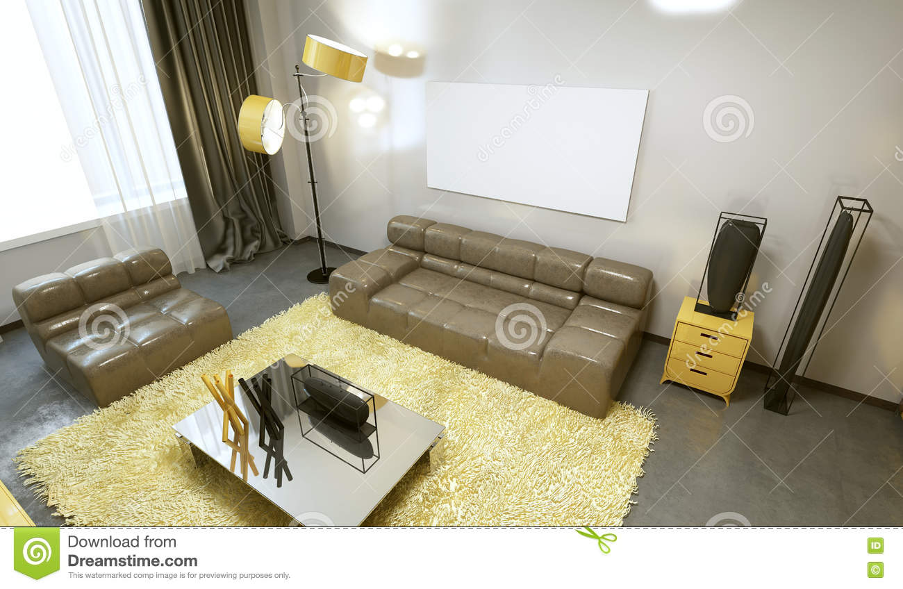 Download Luxurious Contemporary Living Room In Pale Grey, Yellow And Brow  Stock Illustration   Illustration