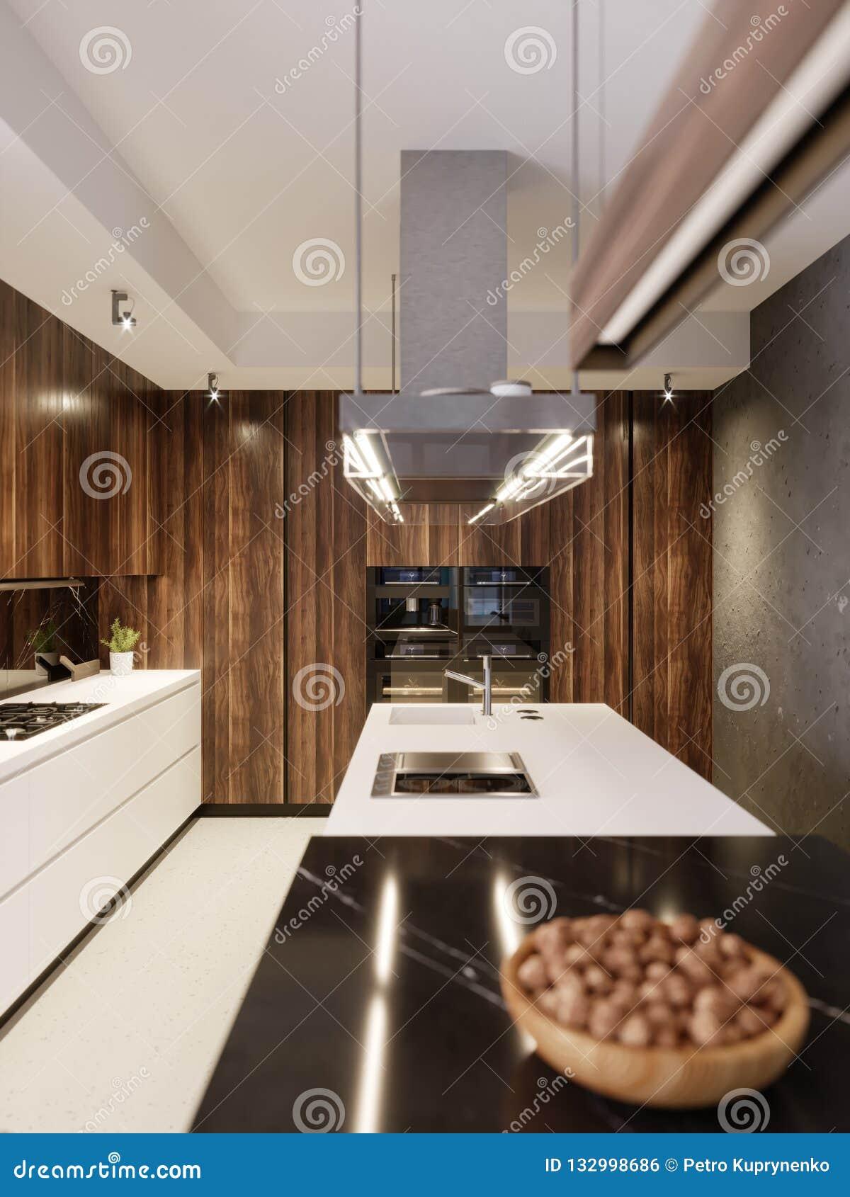 Luxurious Designer Kitchen With Bar, Kitchen Island And ...