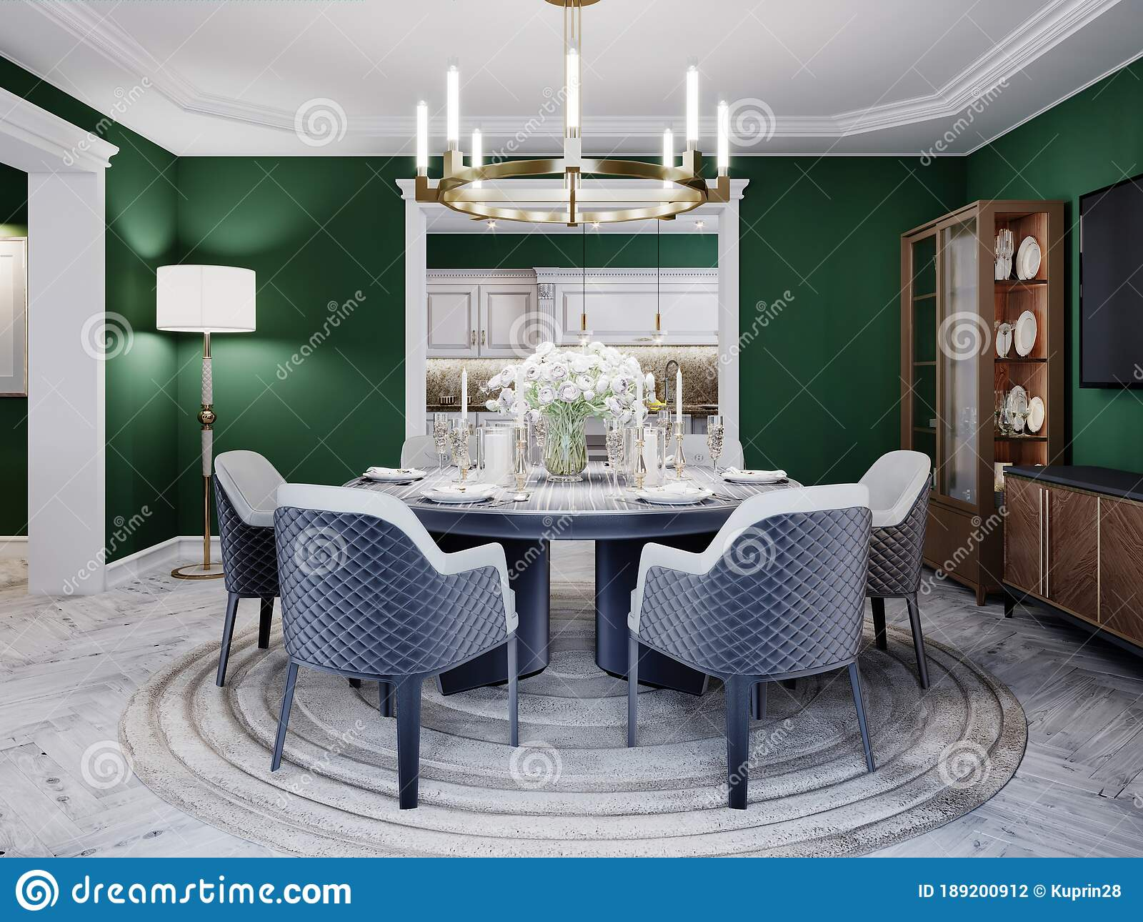 Luxurious Dining Room in a Large House, with a Round Table for Six ...