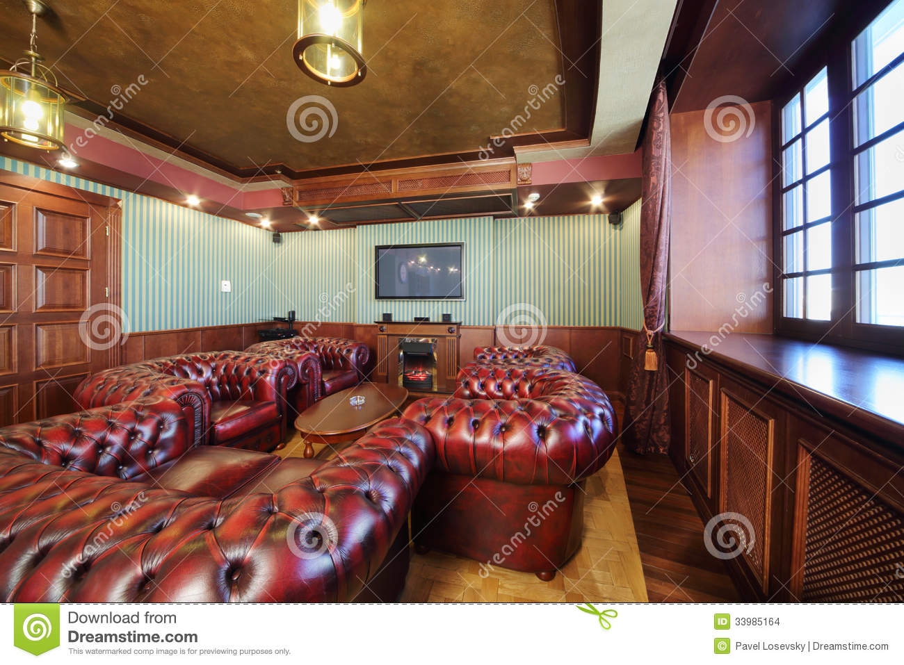 Luxurious English Cigar Room With Leather Armchairs Stock