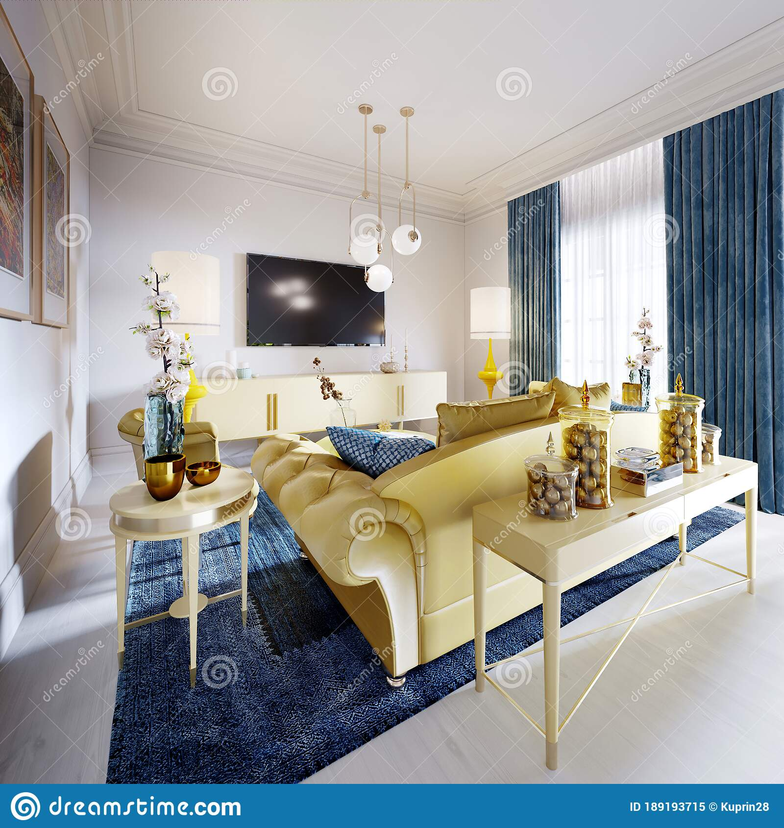 Luxurious Fashionable Living Room With Yellow Upholstered Furniture And Blue Carpet And Decor Yellow Console With Decor Stock Illustration Illustration Of Carpet Floor 189193715