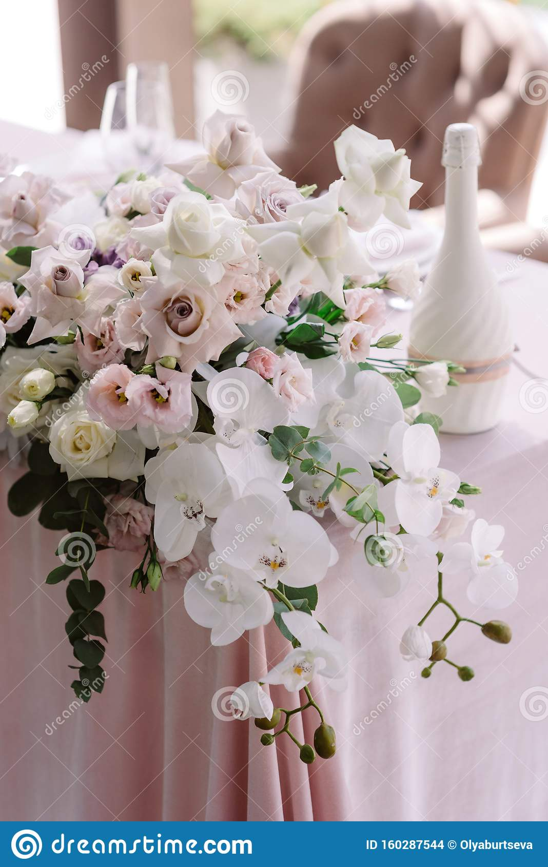 Luxurious Flowers On The Corner Of The Wedding Table Stunning White Orchids Stock Photo Image Of Flowers Design 160287544
