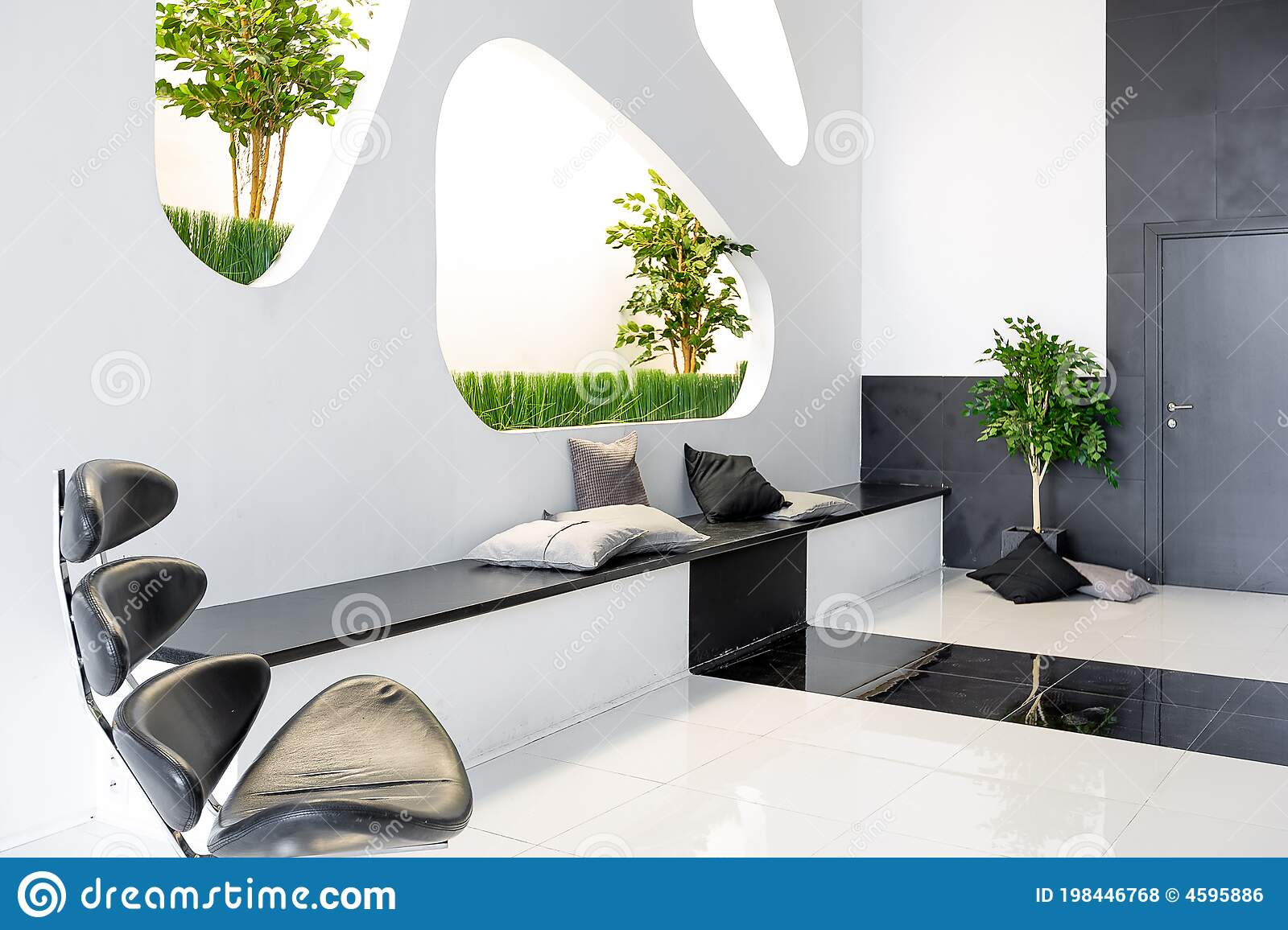Luxurious Futuristic Trendy Modern Interior In Contrasting Black And White Colors With Interesting Fashionable Black Furniture And Stock Photo Image Of Lifestyle Architecture 198446768