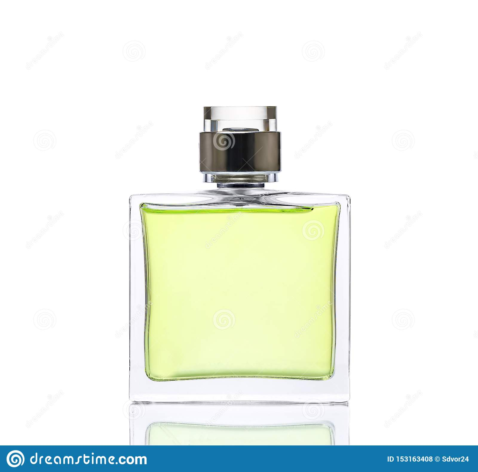 Luxurious green perfume. Feminine beauty concept, studio photography of perfume bottle - isolated on white background