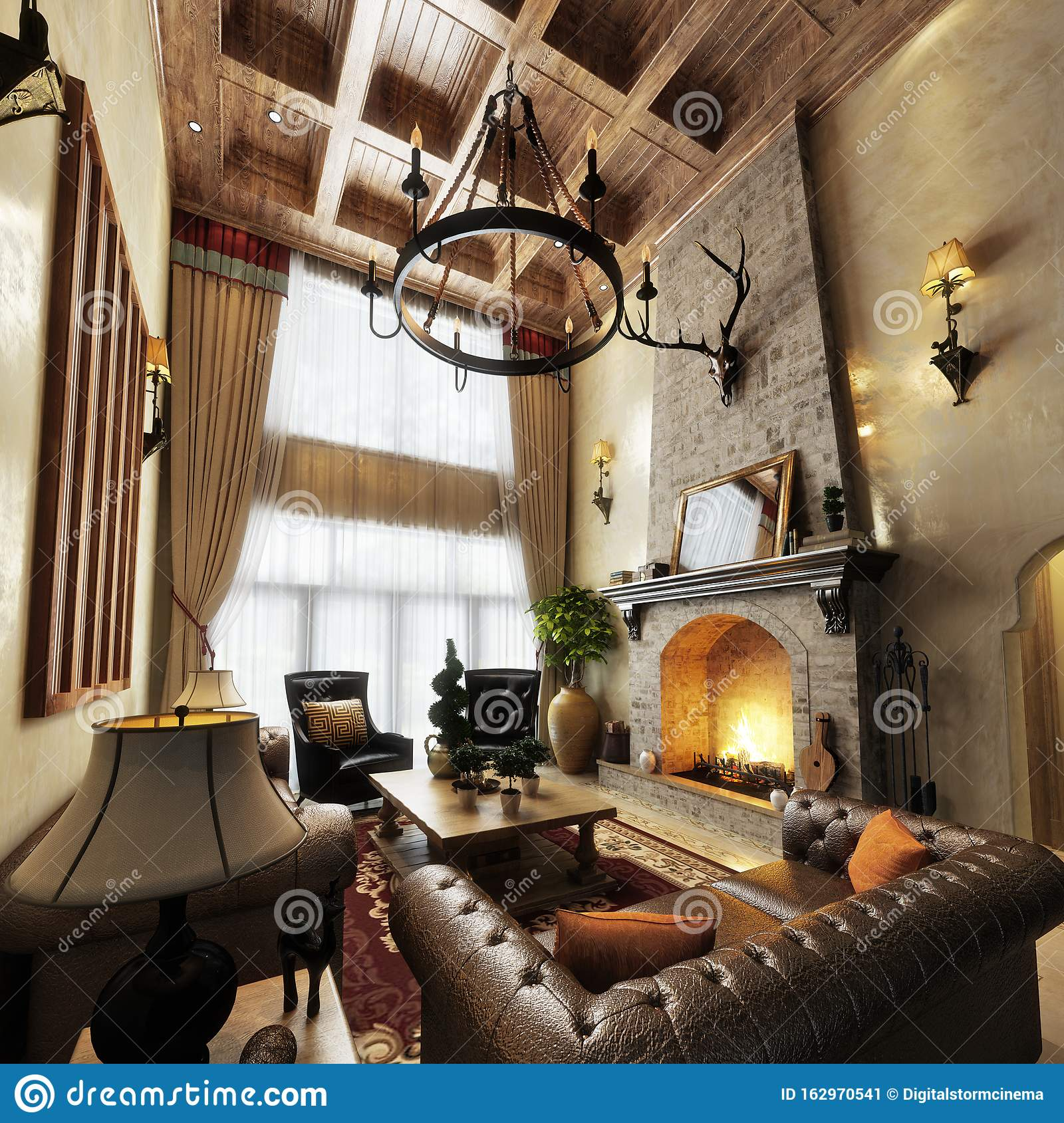 Luxurious High Ceiling Cabin Interior Living Room Design