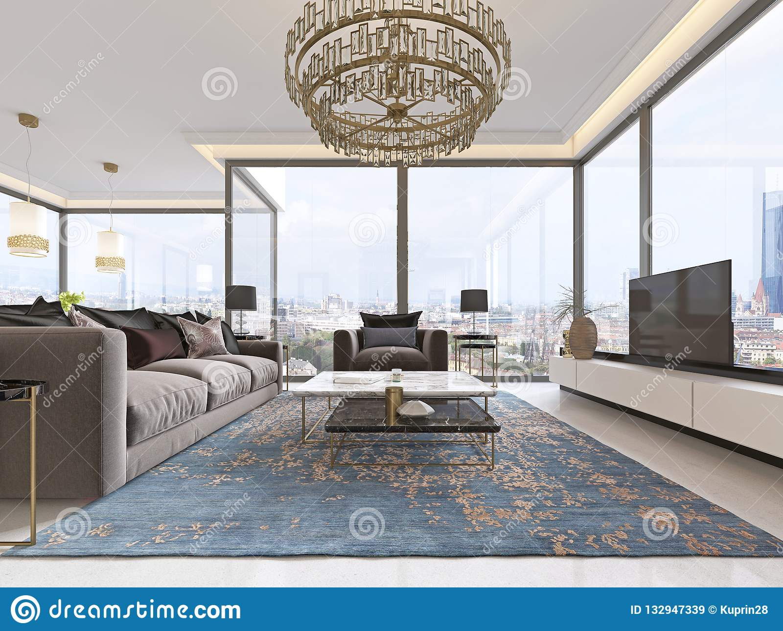 Luxurious Interior Of Living Room Contemporary Style With TV Unit Sofa Armchairs Coffee Table And Dining Kitchen 3D Rendering