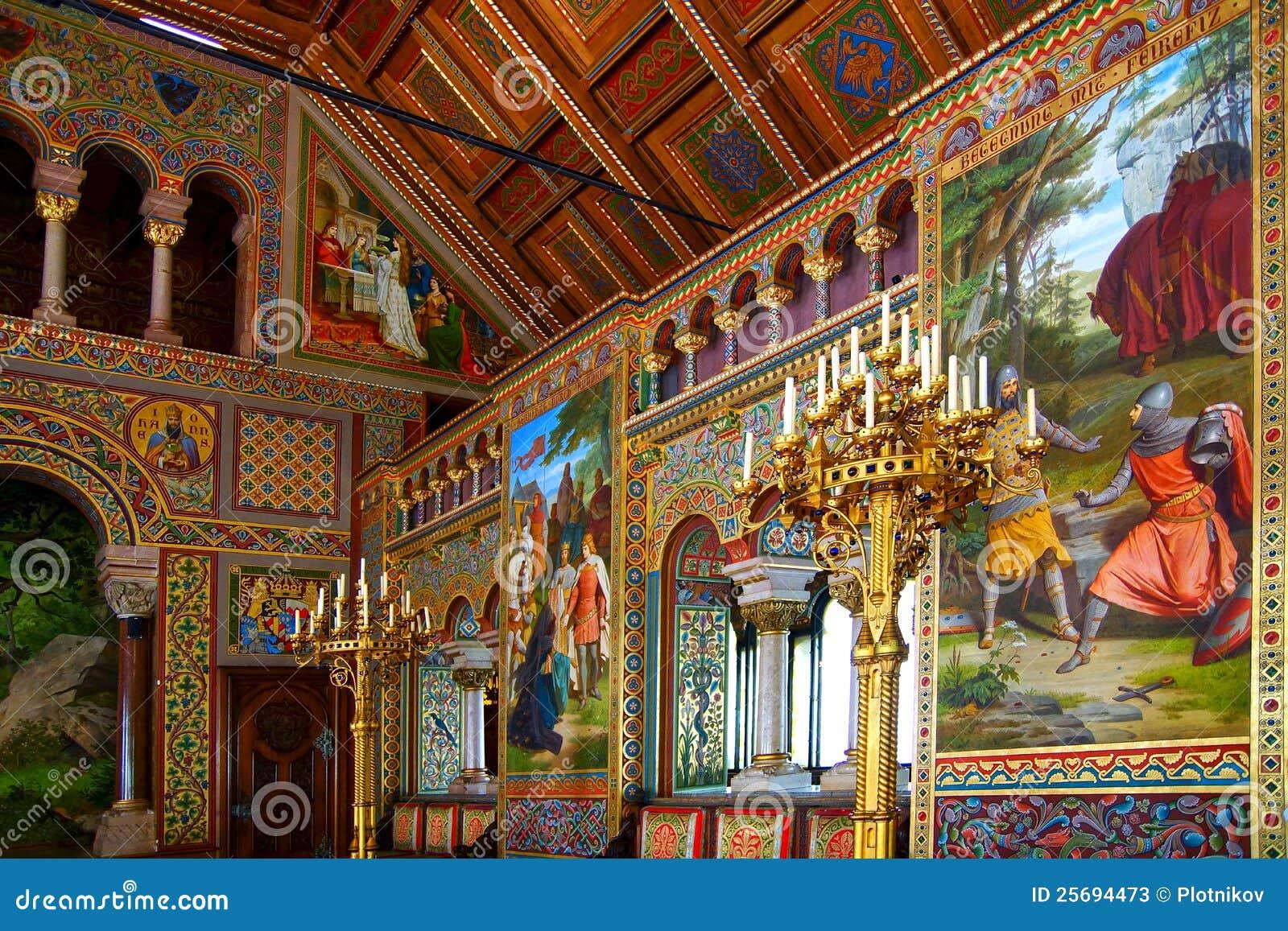 Luxurious interior of the neuschwanstein castle editorial for A l interieur inside