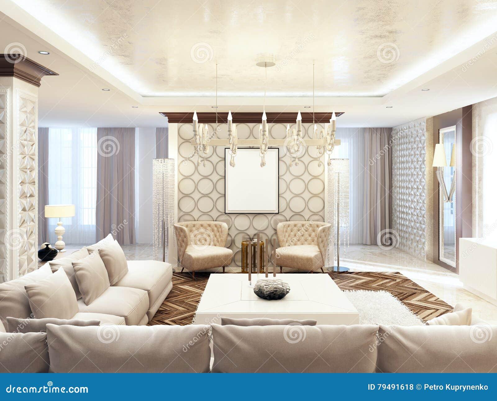 Decoration Style Art Deco luxurious large living room style art deco. stock illustration