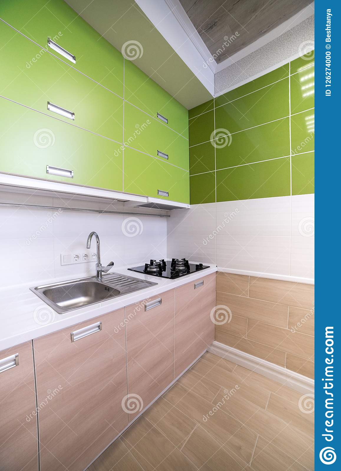Luxurious Laundry In The House With Green Cupboards, Light ...