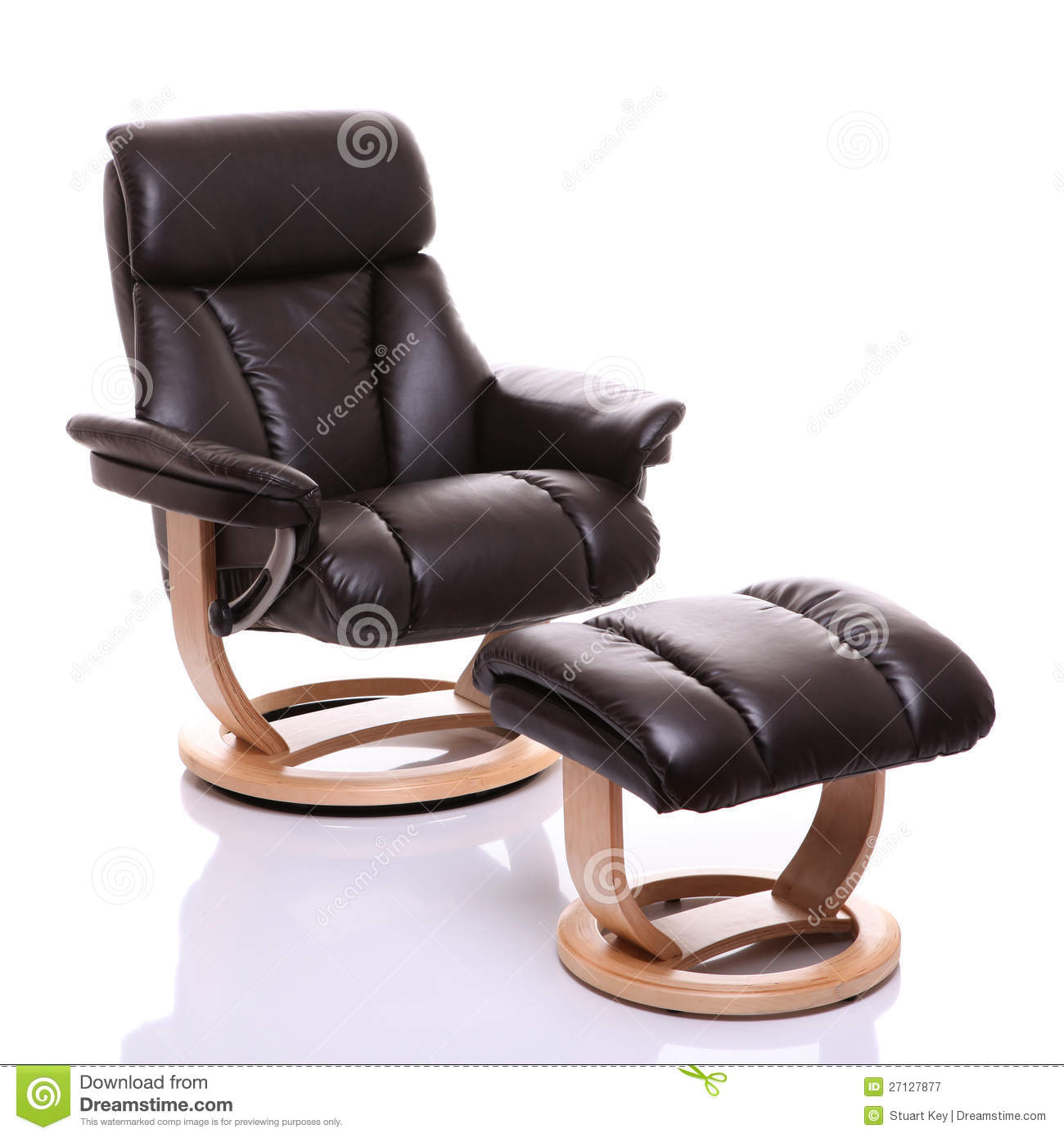 Luxurious Leather Recliner Chair With Footstool Royalty