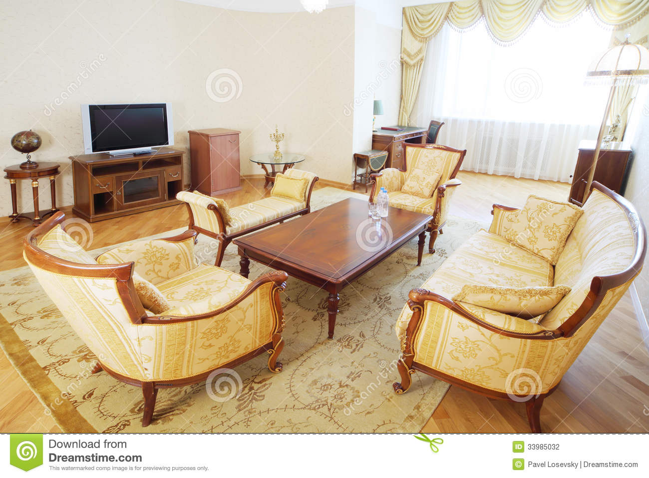 Luxurious Living Room With Armchairs Sofa Wooden Table