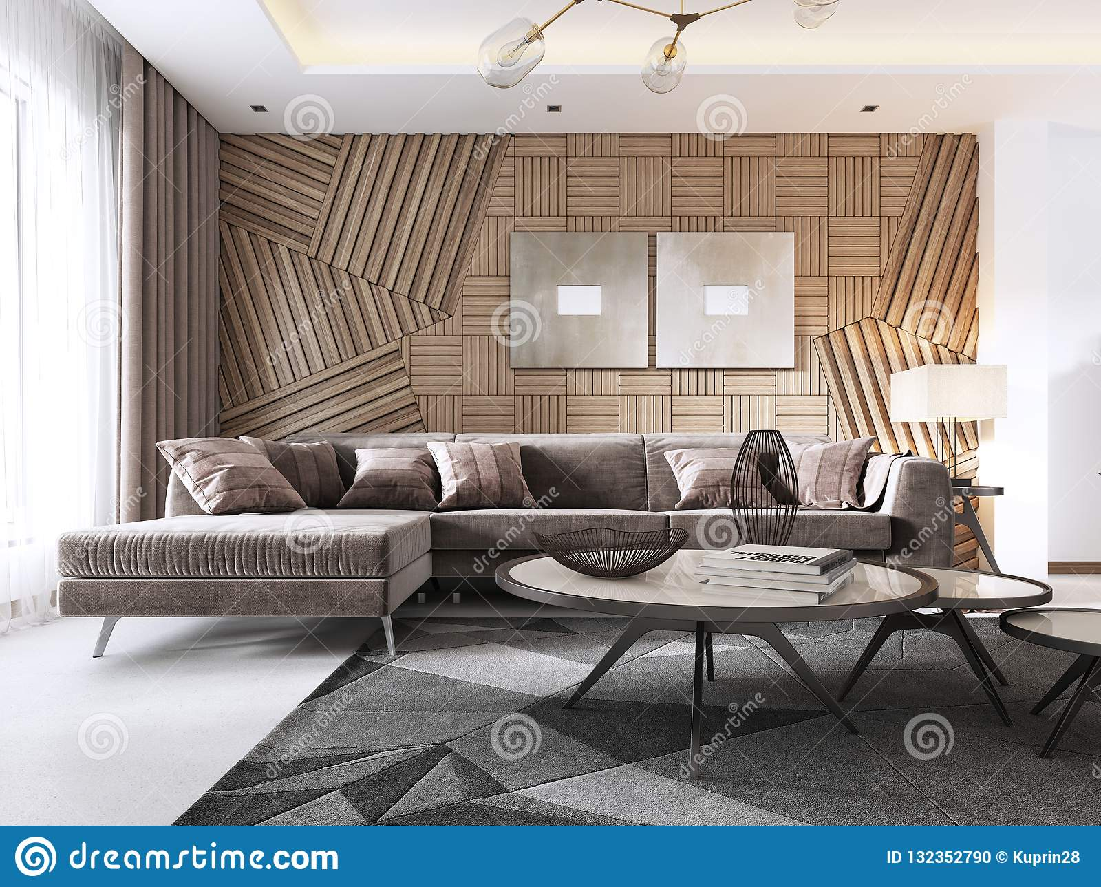 Luxurious Living Room In Contemporary Style With Wooden