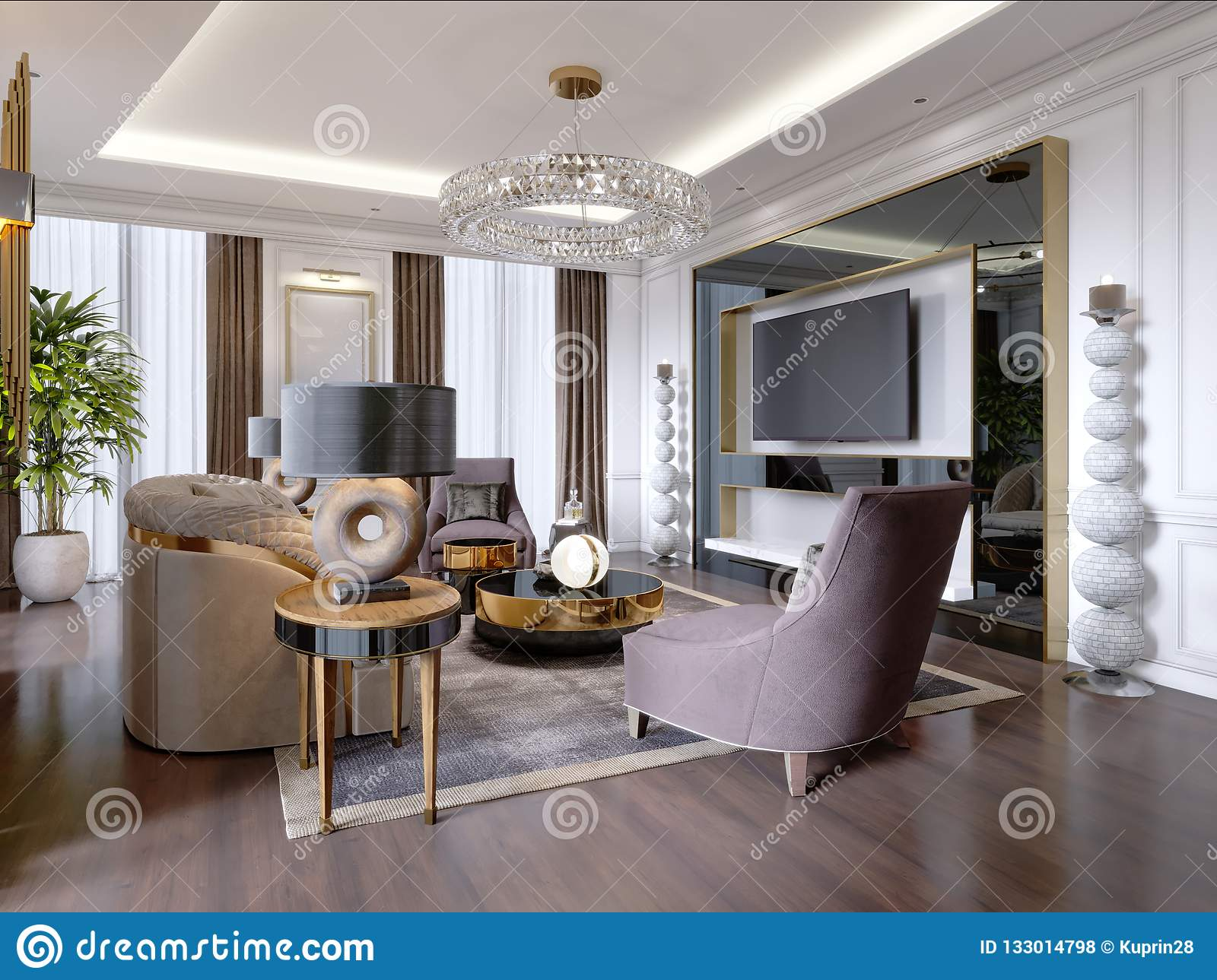 Luxurious Living Room In Modern Style With Sofa Armchair