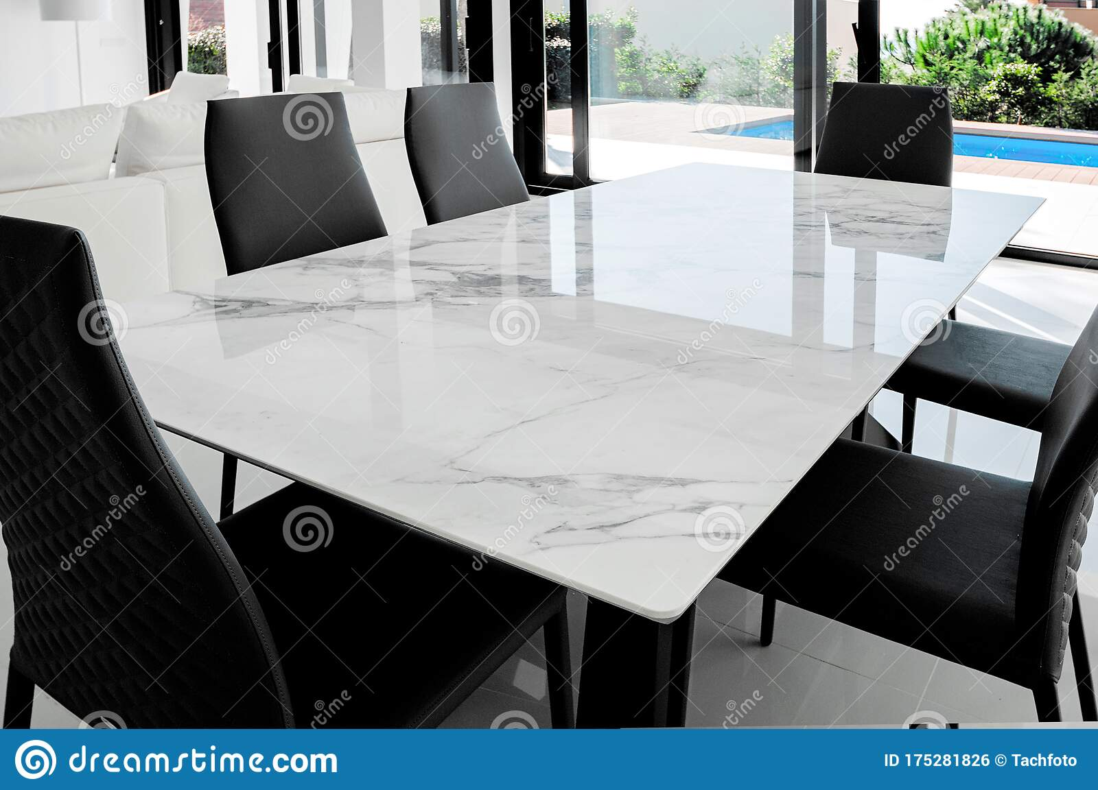 Picture of: Luxurious Marble Dining Table With Black Chairs Stock Photo Image Of Kitchen Dinner 175281826