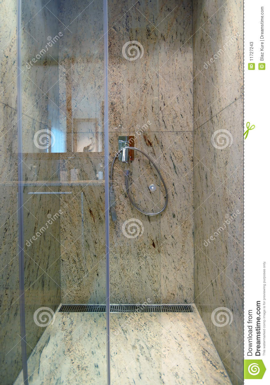 Luxurious Marble Shower Stock Image Image Of Glass Decor