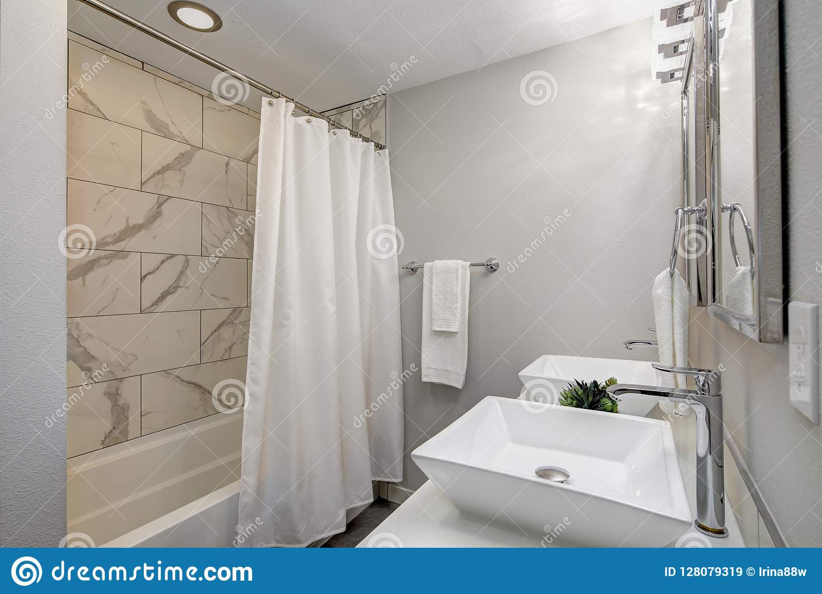 Luxurious Master Bath With Marble Tile Stock Image Image Of Apartment Home 128079319