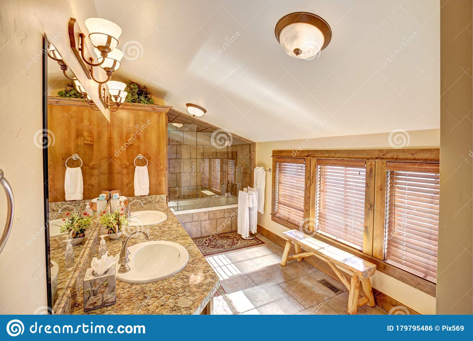 A Modern Log Cabin Bathroom Stock Photo Image Of Beautiful Architecture 179795486