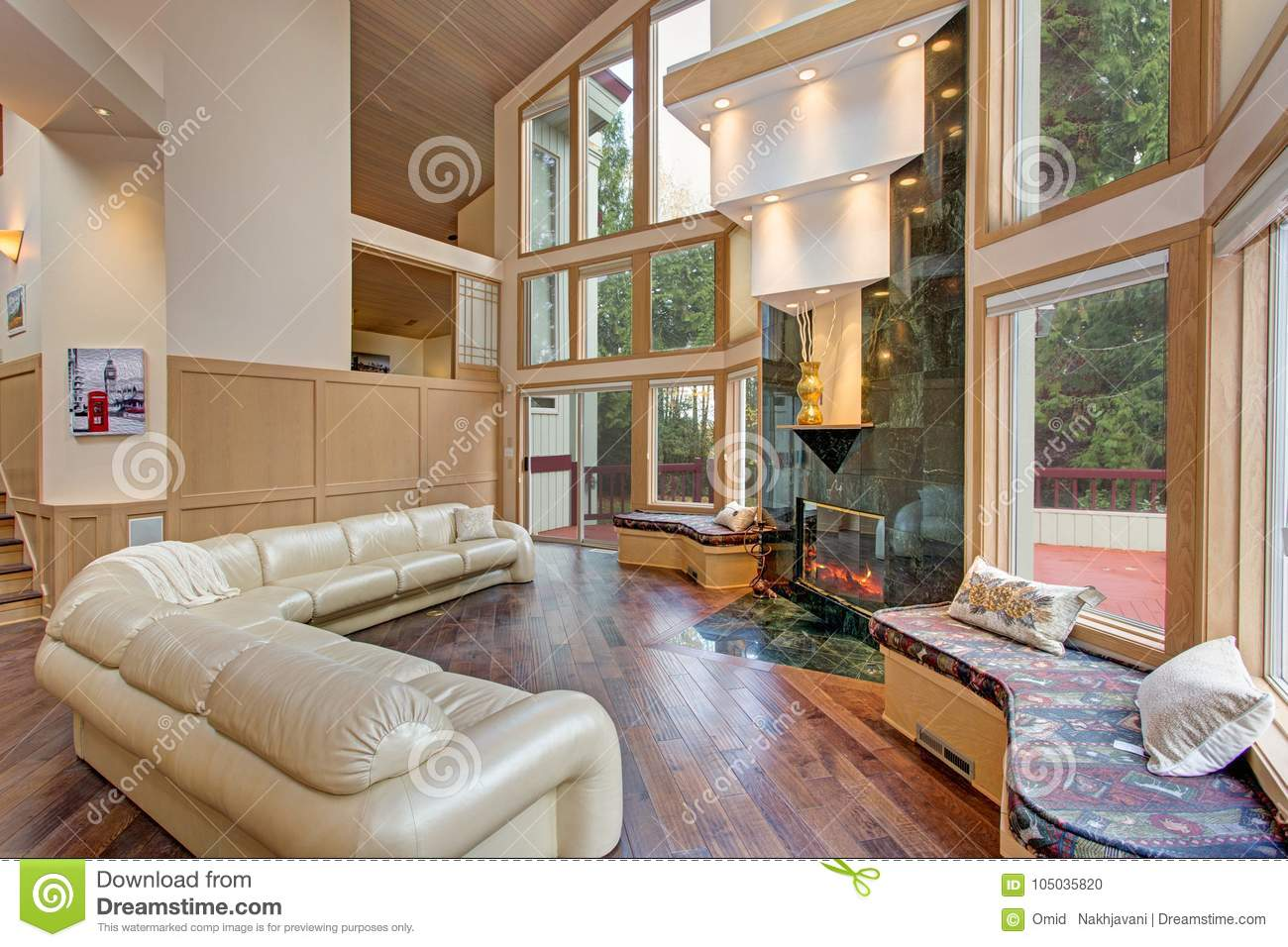 Luxurious Master Bedroom With Vaulted Ceiling Stock Photo