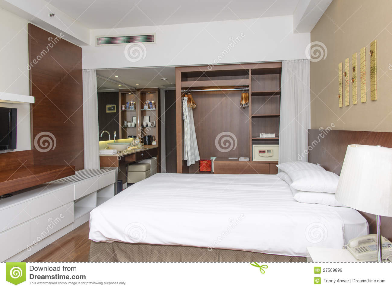 Modern Hotel Room interior of luxury modern hotel room royalty free stock image