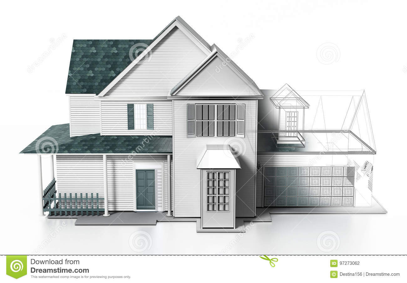 Luxurious modern house with wireframe rendered parts. 3D illustration