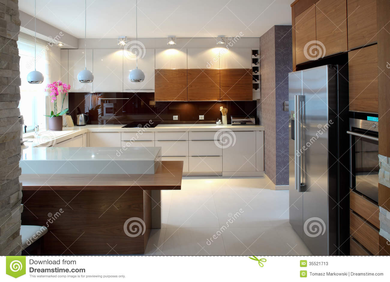 Luxurious Modern Kitchen Stock Photos Image: 35521713 #6B4830 1300 957