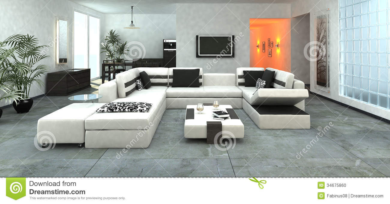 Luxurious Modern Living Room Stock Illustration Image 34675860
