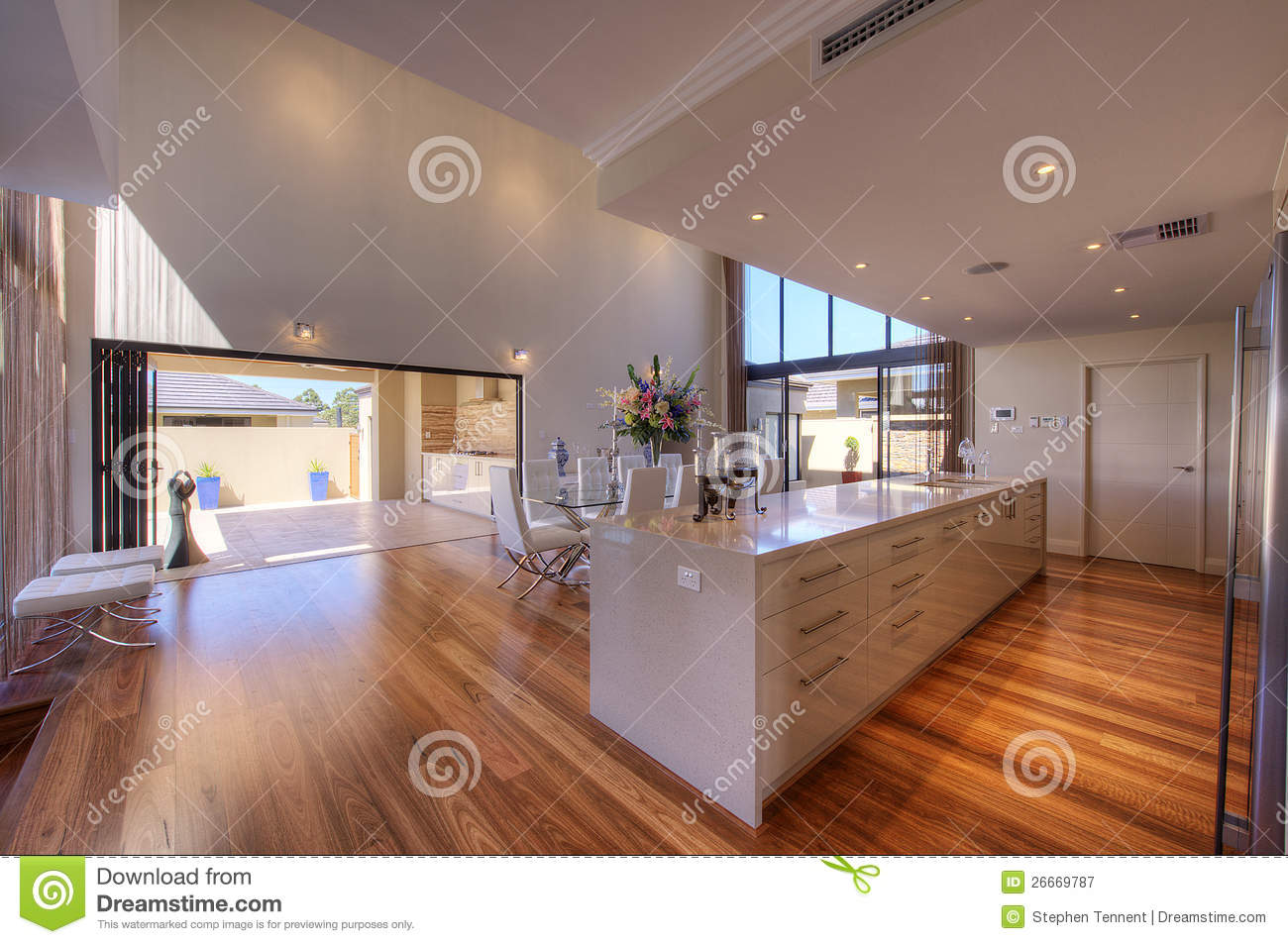Luxurious modern open plan galley kitchen stock image for House plans with galley kitchen