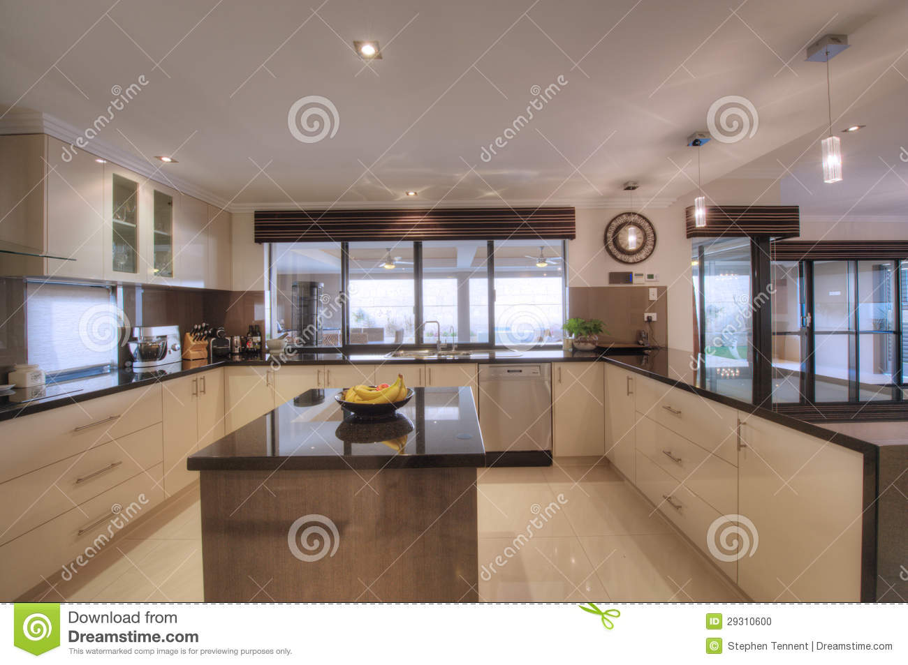 Luxurious modern open plan galley kitchen stock photo Contemporary open plan kitchen