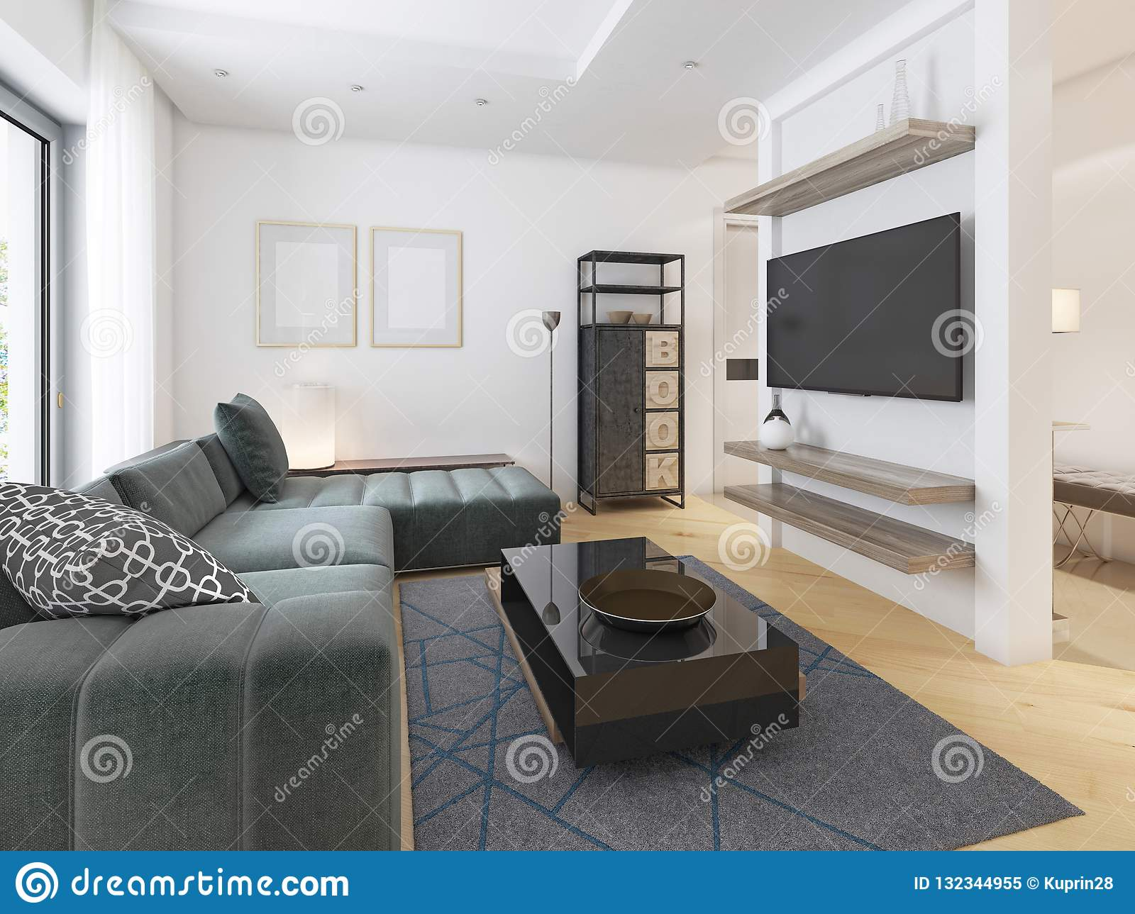 Luxurious Modern Studio Apartment In Contemporary Style Stock ...