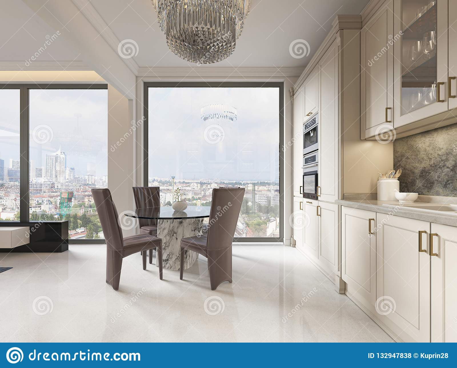 A Luxurious Modern-style Kitchen With A Dining Table And A