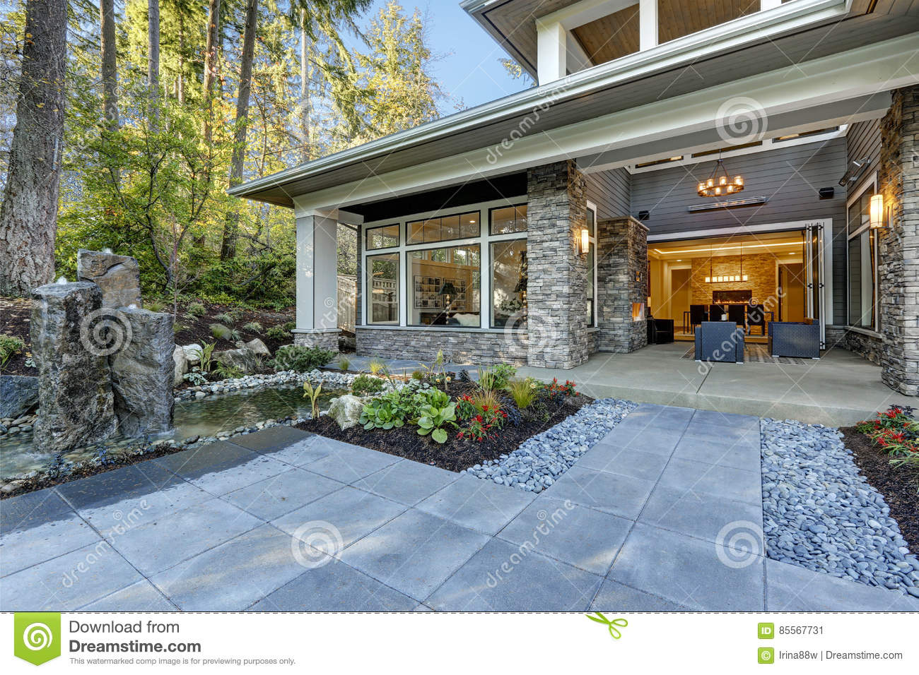 Luxurious New Construction Home Exterior Stock Image Image Of Home