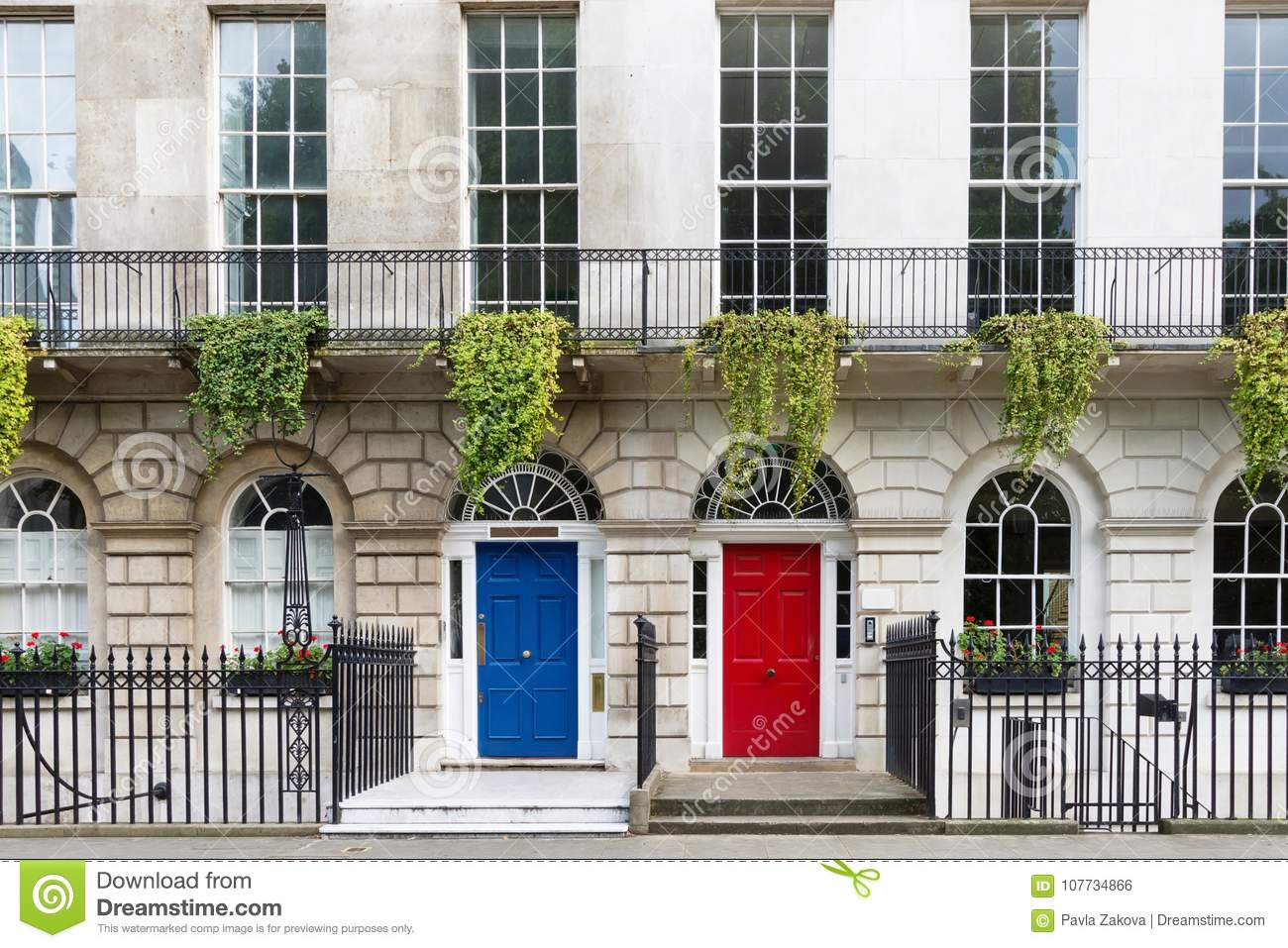 Town House With Red And Blue Door London Uk Stock Photo Image Of