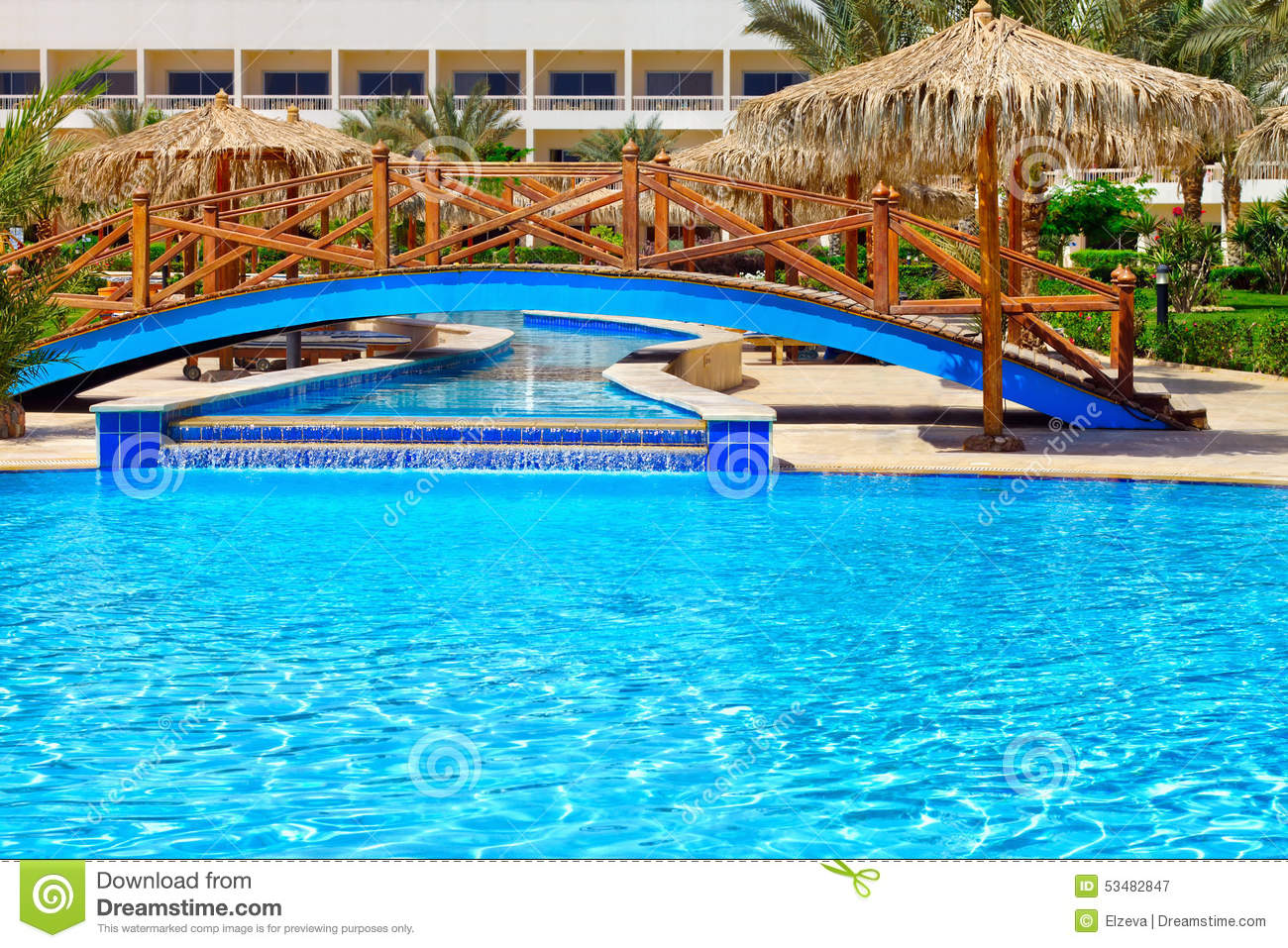 Luxurious Swimming Pool With Patio Stock Photo 78231210