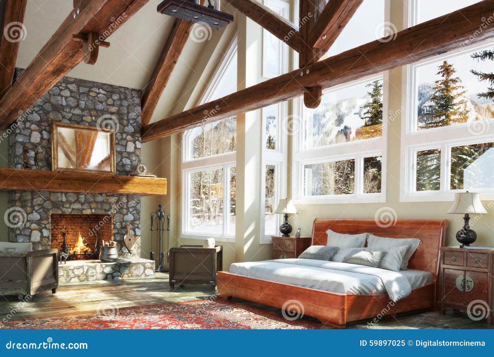 Luxurious open floor cabin interior bedroom design