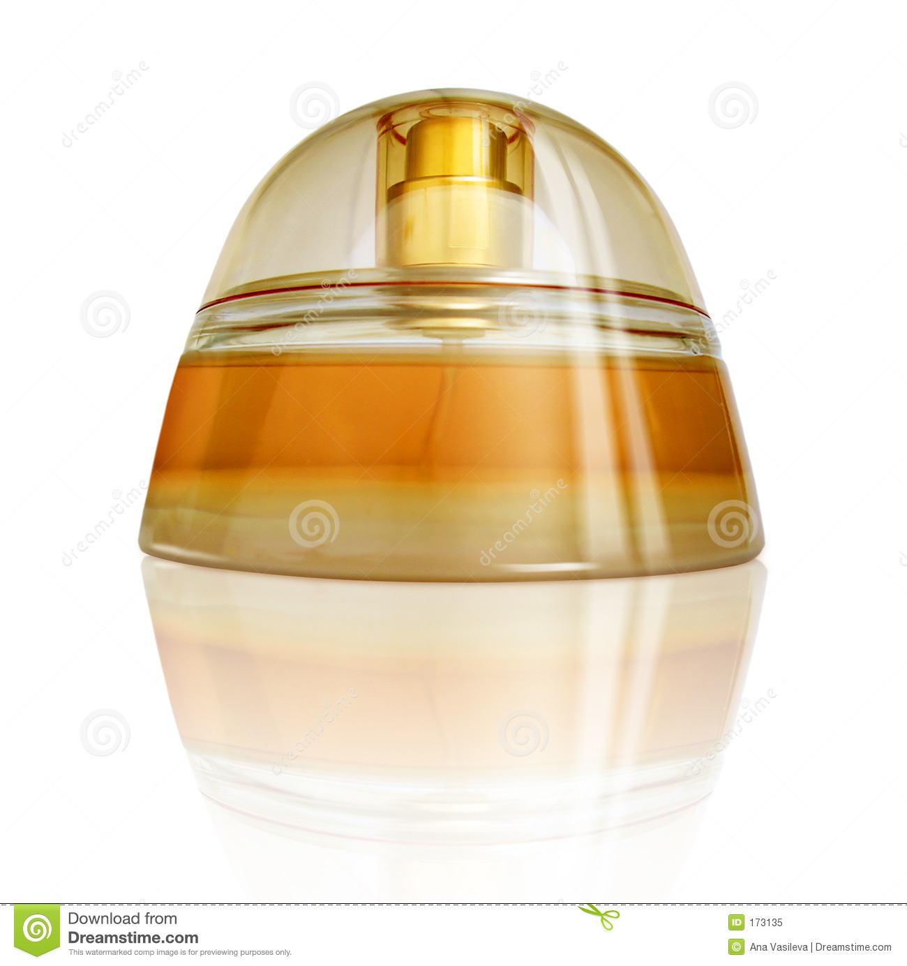 Luxurious Perfume With Reflection, Yellow-Orange Colors