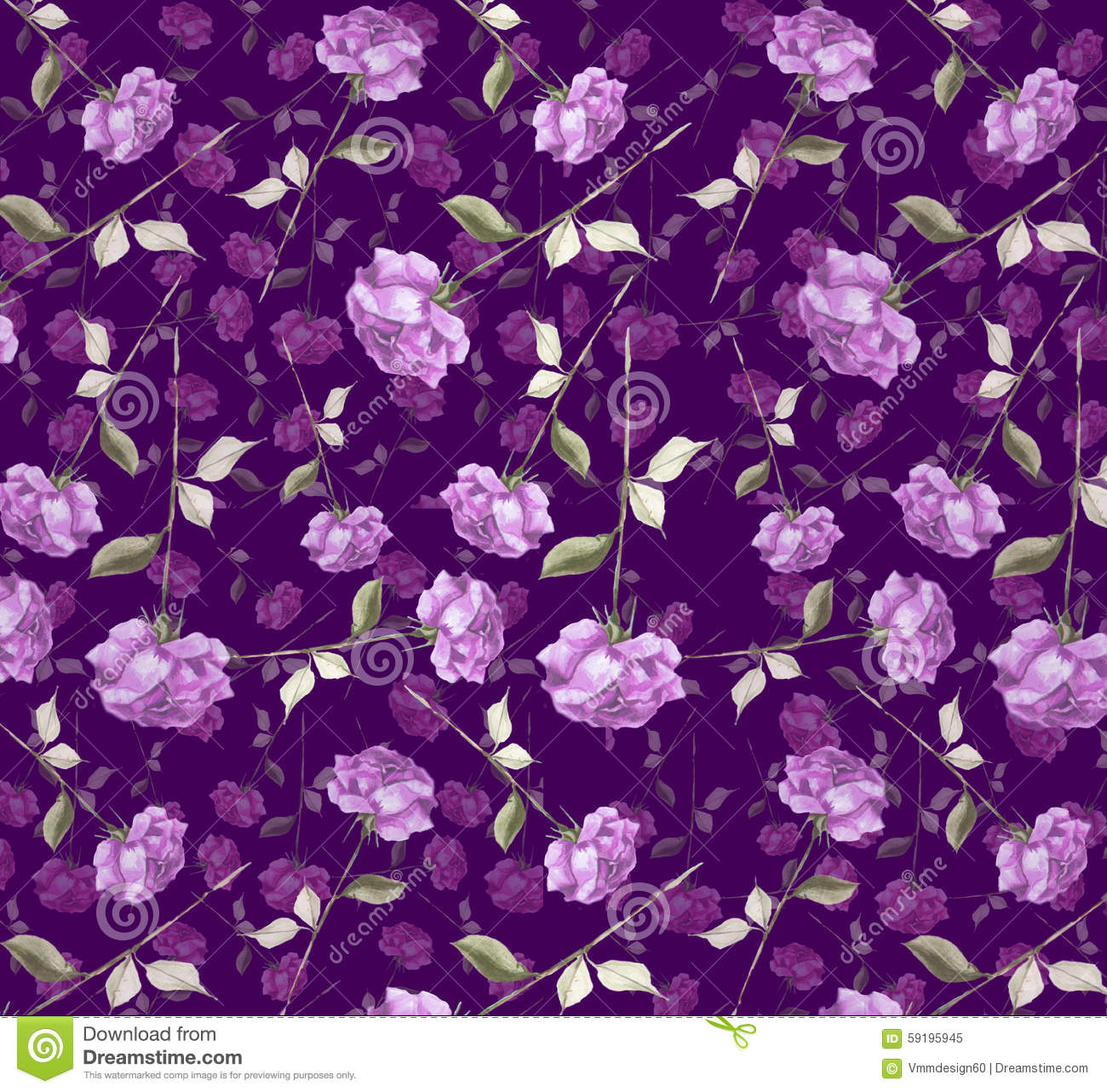 luxurious purple violet watercolor abstract rose flower