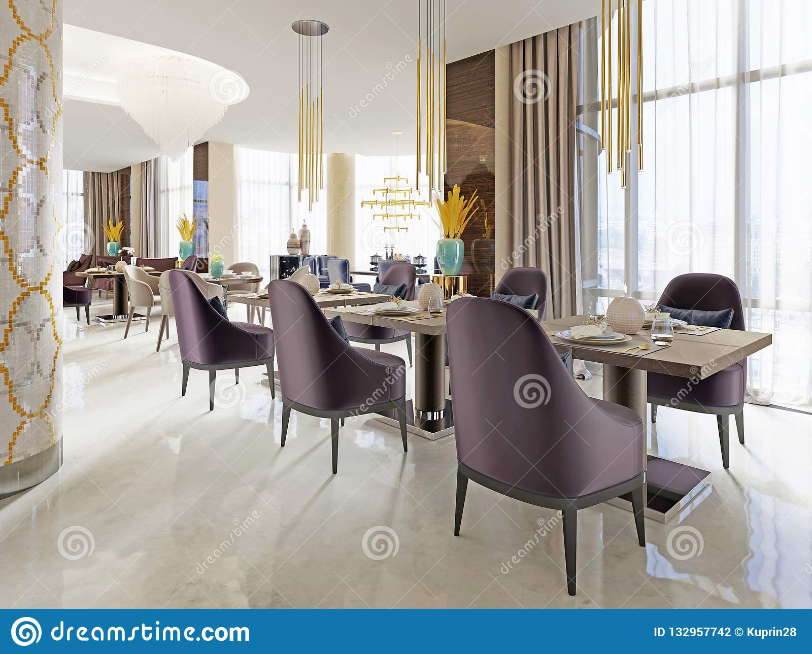 The Luxurious Restaurant In The Hotel Has A Modern Interior Design Soft Armchairs And Served Tables Stock Illustration Illustration Of Chair Couch 132957742