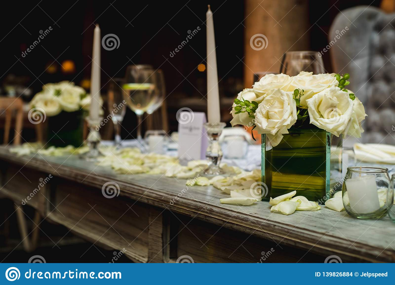Luxurious Romantic Party Table Setting Lit By Candles