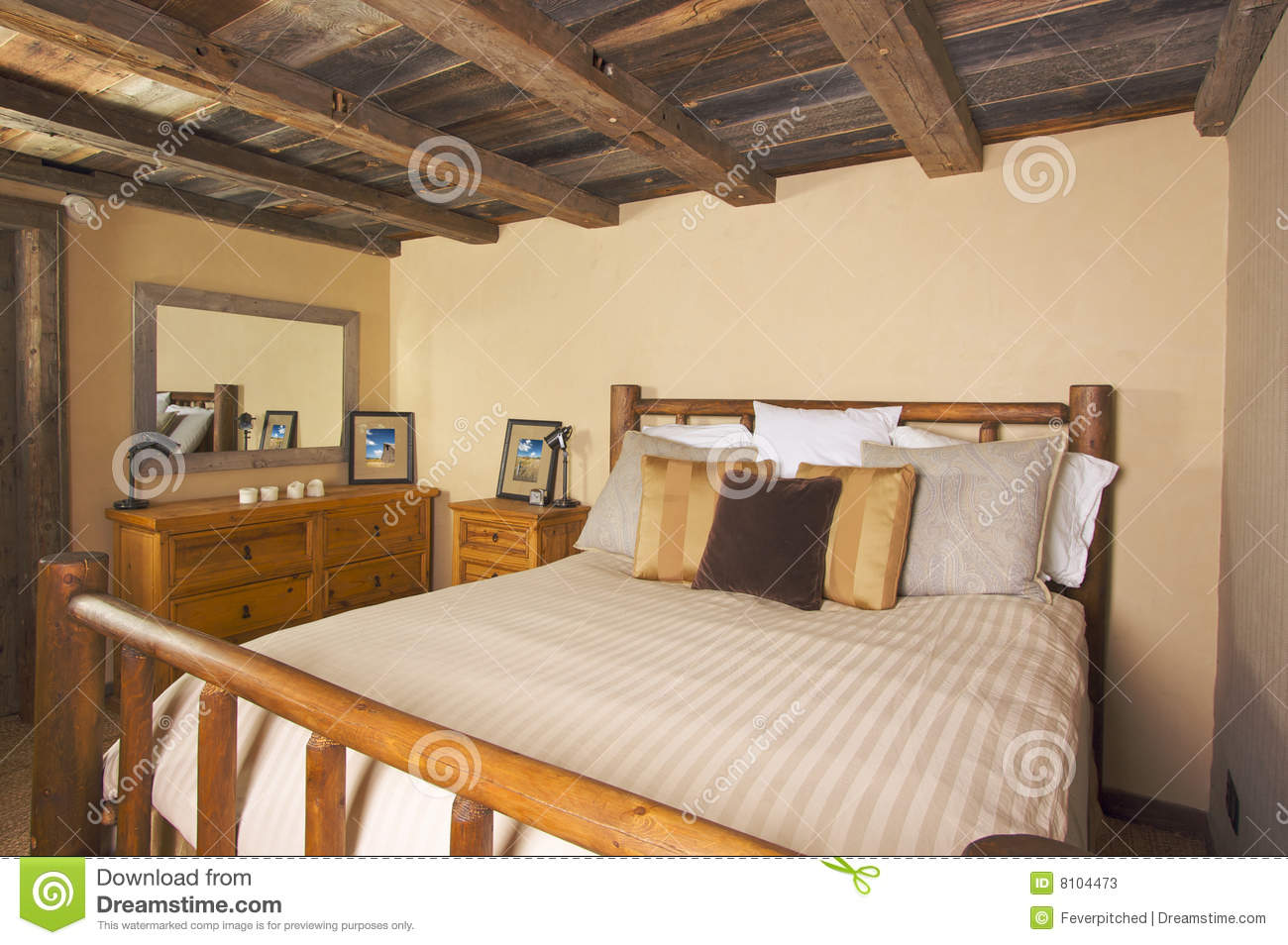 Luxurious rustic log cabin bedroom stock image image for 2 bedroom log cabin kits prices