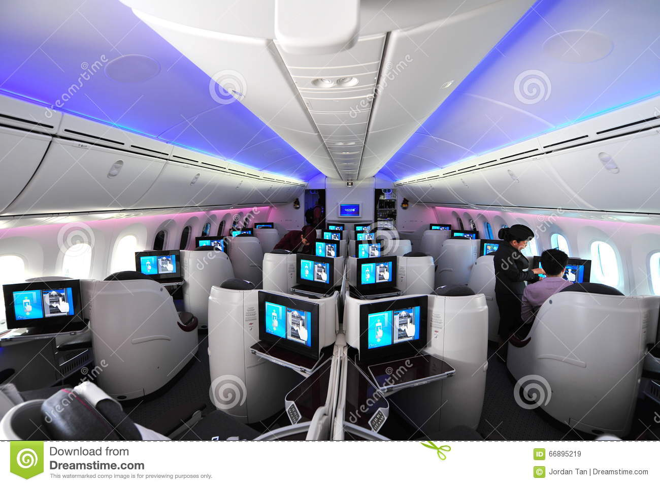 Luxurious And Spacious Business Class Seats In A Qatar Airways