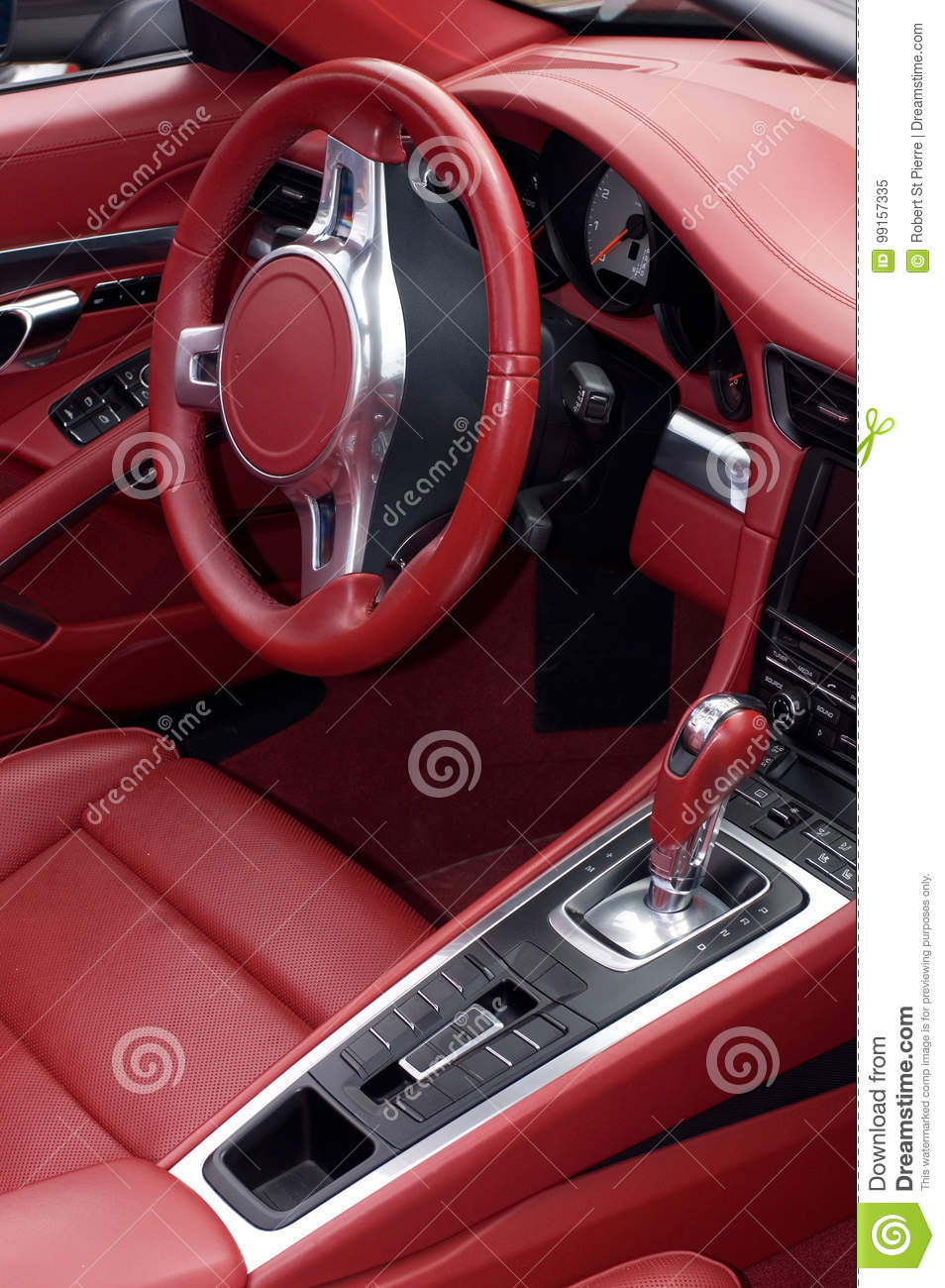 Sport Car Red Leather Interior Stock Image Image Of Automotive
