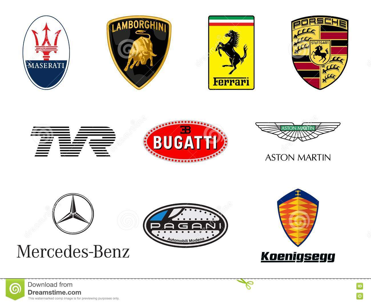 Luxurious Sport Cars Producers Logos Editorial Stock Photo